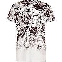 T-shirt blanc imprimé tête de mort délavé pour garçon