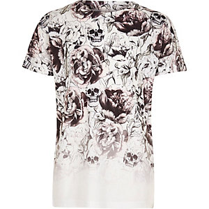 Boys white skull print fade T-shirt