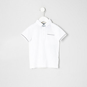 Mini boys white tipped polo shirt