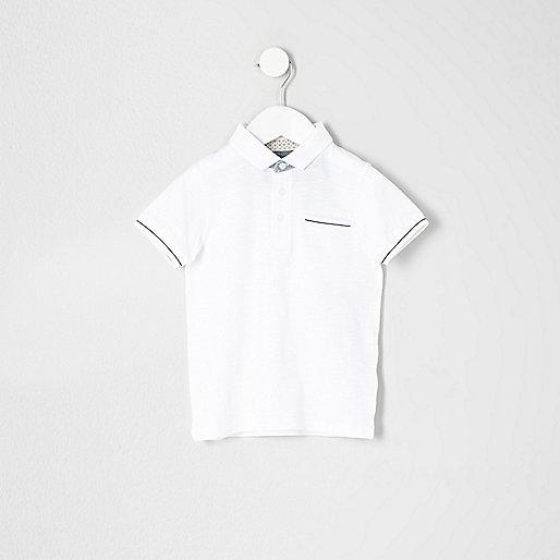 Mini boys white tipped polo shirt