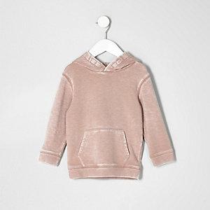 Mini - roze burn-out hoodie voor jongens