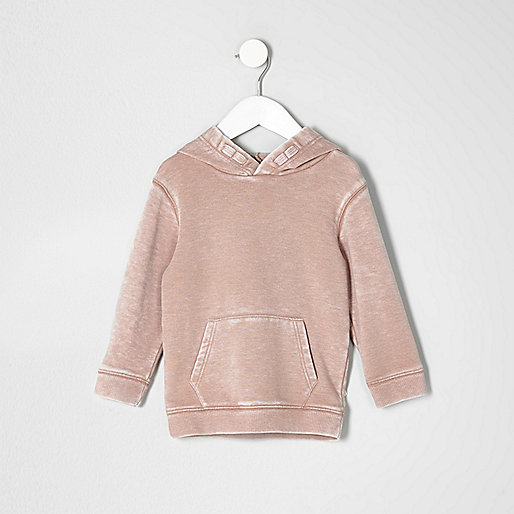 Mini boys pink burnout hoodie