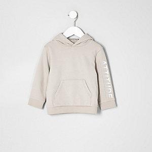 Mini - Kiezelkleurige hoodie met 'attitude'-print voor jongens
