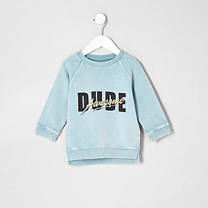 Mini boys mint green dude sweatshirt