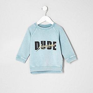 Mini - mintgroen sweatshirt met dude-print voor jongens