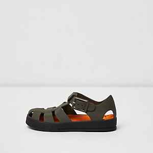 Mini boys khaki green jelly sandals