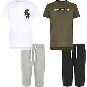 Weißes Pyjama-Set mit Dino-Motiv, Set