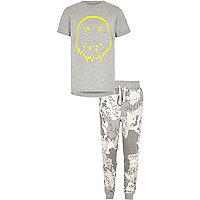 Boys grey 'I'm so lazy' pyjama set