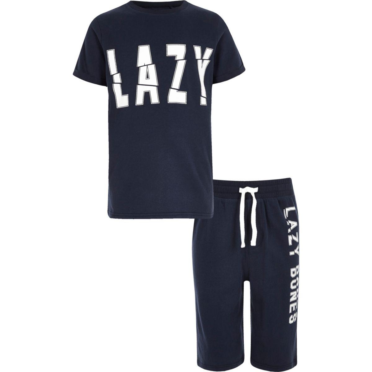 Boys navy 'lazy bones' pajama set