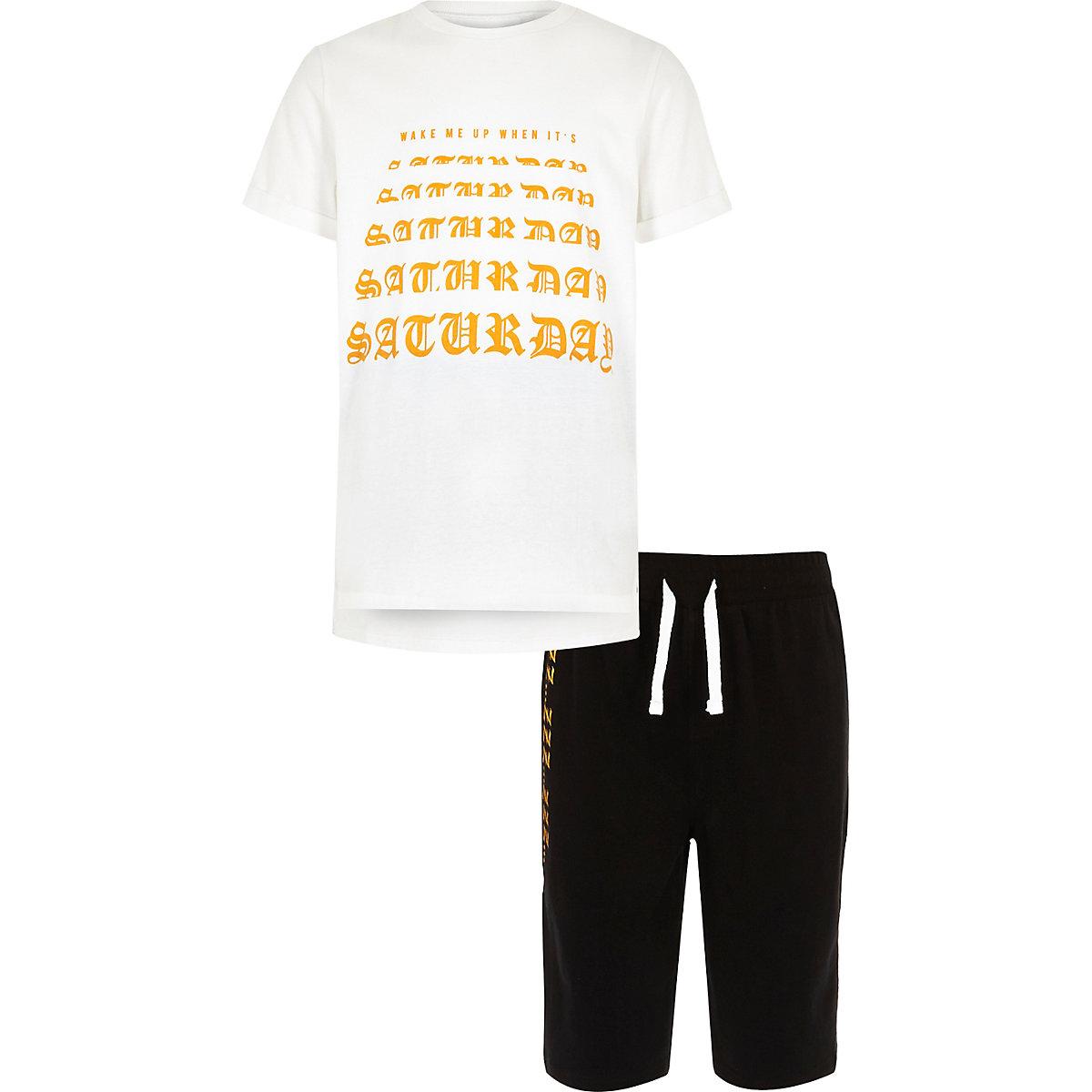 Boys white 'wake me on a Saturday' pyjama set