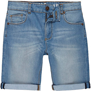 Boys blue Dylan slim fit denim shorts