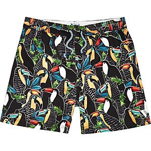 Boys black toucan print swim trunks