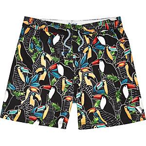 Boys black toucan print swim trunks