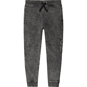 Boys grey acid wash biker joggers