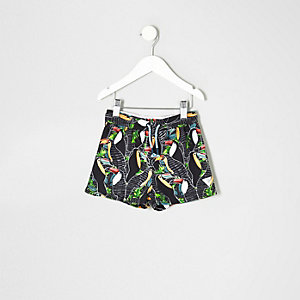 Mini boys black toucan print swim shorts