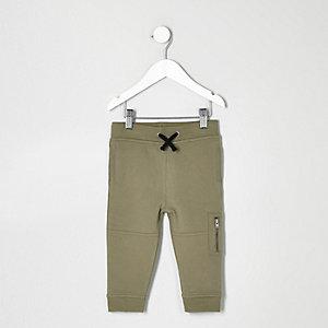 Pantalon de jogging kaki style motard pour mini garçon