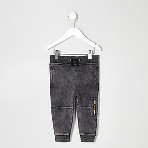 Mini boys grey acid wash biker joggers