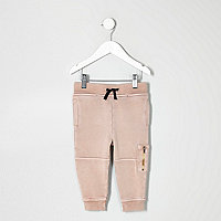 Mini boys pink acid wash biker joggers