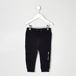 Mini boys black biker joggers