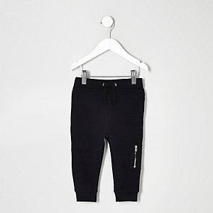 Pantalon de jogging style motard noir mini garçon