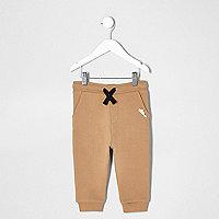 Pantalon de jogging à imprimé contrastant marron pour mini garçon