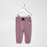 Mini boys purple contrast print joggers