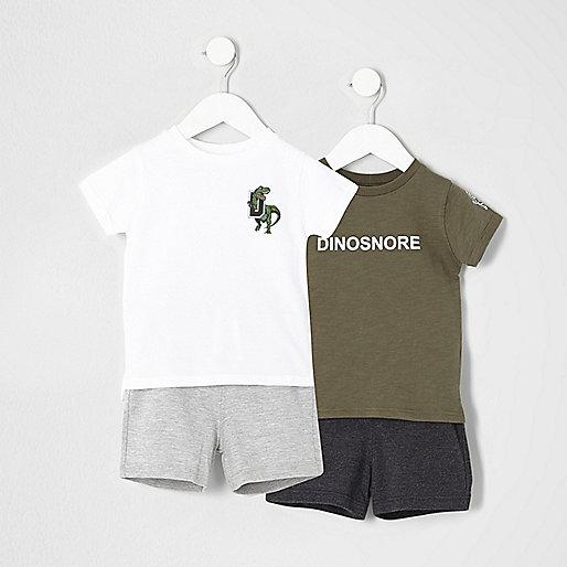 Mini boys dinosaur print pyjama set multipack