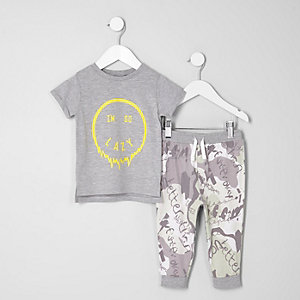 Mini -  Grijze pyjamaset met 'I'm so lazy'-print voor jongens
