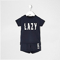 Mini boys navy 'lazy bones' pyjama set