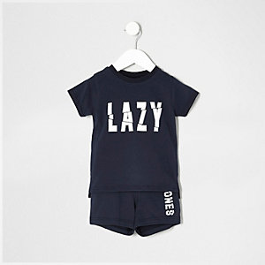 Mini boys navy 'lazy bones' pajama set
