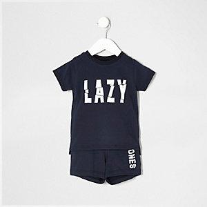 Mini - Marineblauwe pyjamaset met 'lazy bones'-print voor jongens