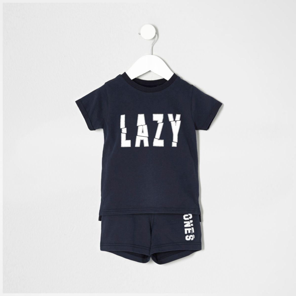 Mini boys navy 'lazy bones' pajama set