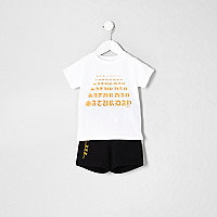 Mini boys white 'Saturday' pajama set