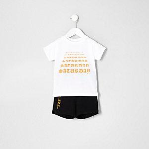Mini - Witte pyjamaset met 'Saturday'-print voor jongens