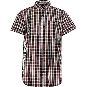 Boys red check short sleeve shirt