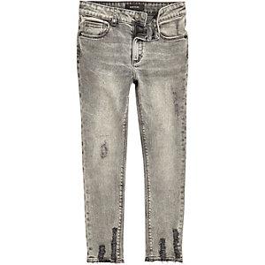 Boys grey Sid chewed hem skinny jeans