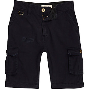 Boys navy cargo pocket shorts