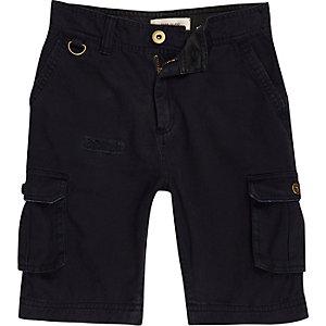 Boys navy cargo pocket shorts