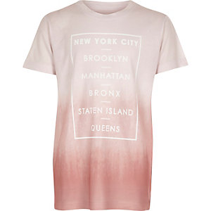 Boys pink USA fade T-shirt