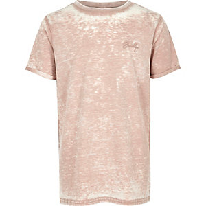 Boys pink burnout crew neck T-shirt