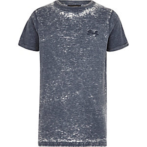 Blaues, kurzärmliges Burnout-T-Shirt