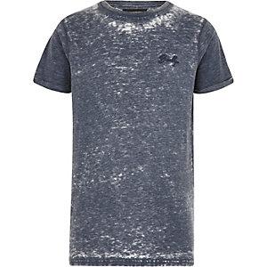 T-shirt bleu effet usé à manches courtes pour garçon