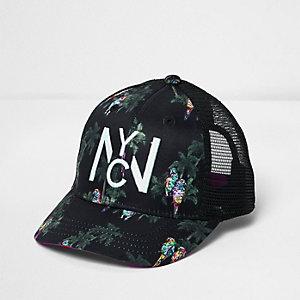 Mini boys black parrot print baseball cap