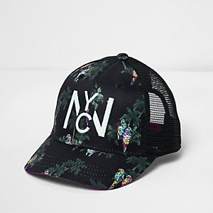 Mini boys black parrot print baseball cap