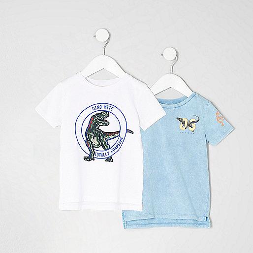 Mini boys blue dinosaur T-shirt multipack