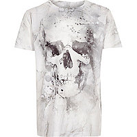 Boys white washed skull T-Shirt