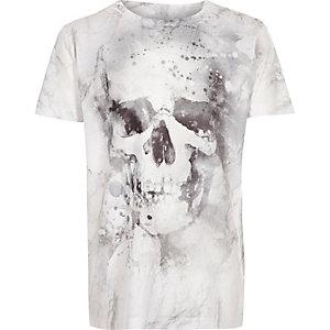 T-shirt tête de mort blanc délavé pour garçon