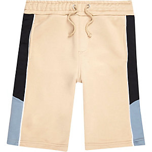 Boys beige sporty contrast shorts