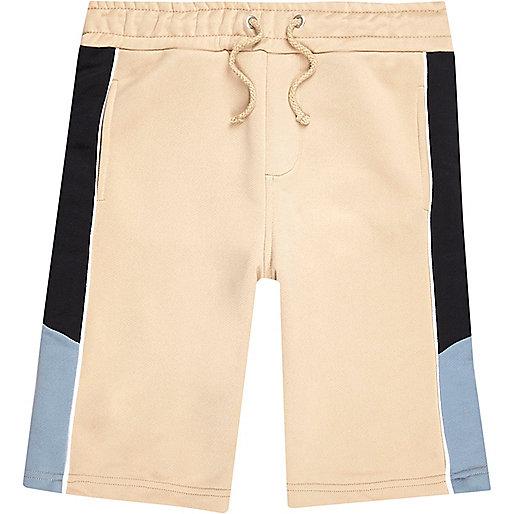 Boys beige sporty contrast shorts