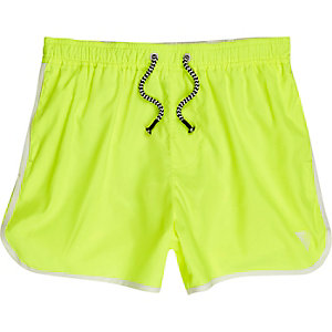 Short de bain jaune fluo style sport pour garçon